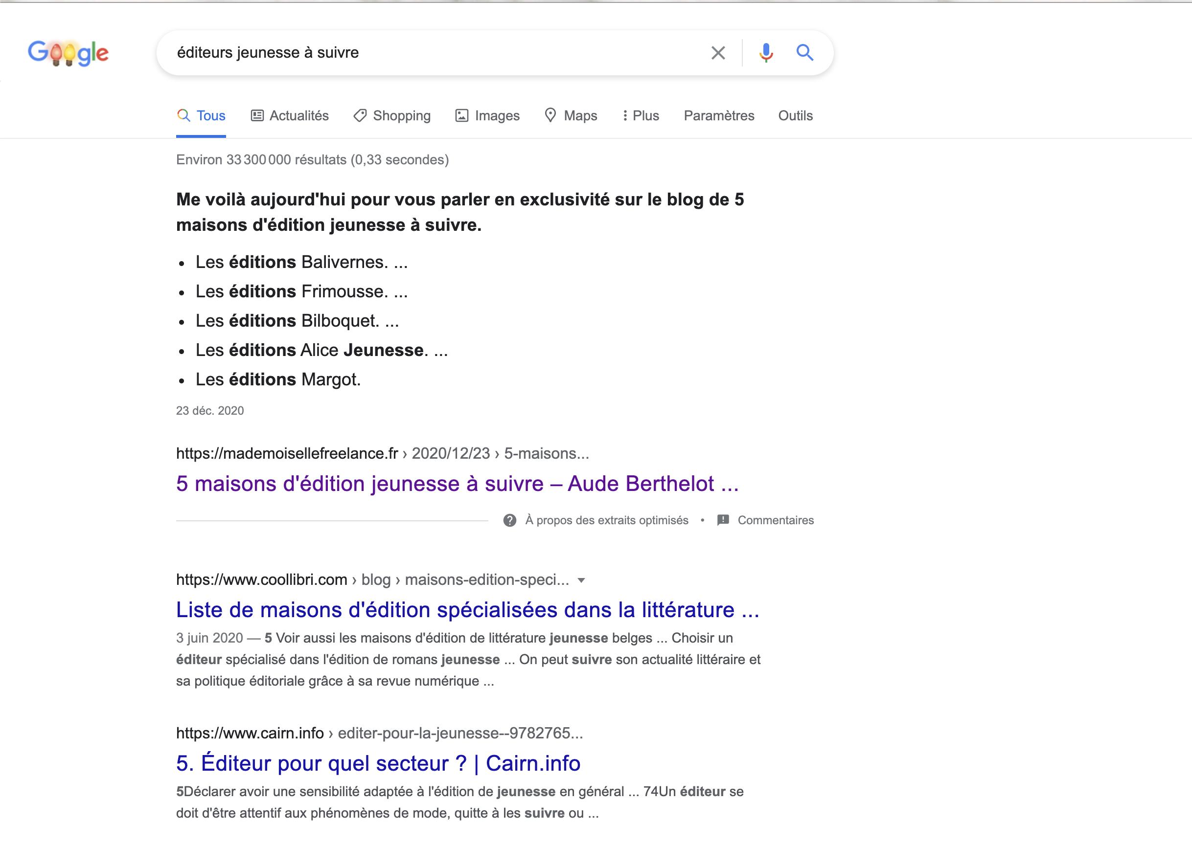 Position zéro du site mademoiselle freelance dans le SERP